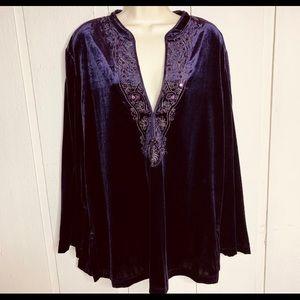 Chico's purple velour v neck  tunic top NWT
